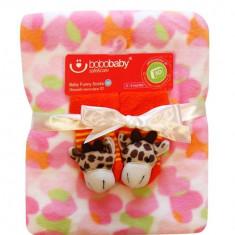 Bobobaby set de cadou: paturica + sosete 3d - roz - Lenjerie pat copii