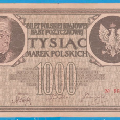 (8) BANCNOTA POLONIA - 1000 MAREK 1919 (17 MAI 1919), FILIGRAN STUP ALBINA - bancnota europa