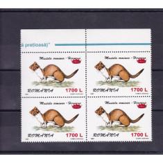 ROMANIA 2000  LP 1505  FAUNA 97 SUPRATIPAR COROANA  BLOC DE 4 TIMBRE  MNH
