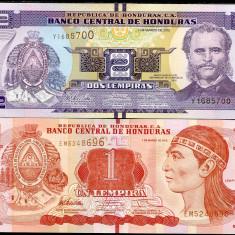 !!! HONDURAS - LOT 1 + 2 LEMPIRAS 2012 - P 96, 97 a - UNC - bancnota america