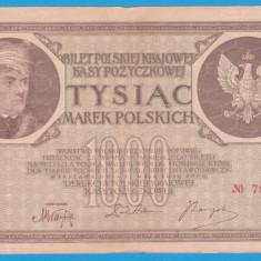 (9) BANCNOTA POLONIA - 1000 MAREK 1919 (17 MAI 1919), FILIGRAN STUP ALBINA - bancnota europa