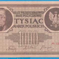 (14) BANCNOTA POLONIA - 1000 MAREK 1919 (17 MAI 1919), FILIGRAN STUP ALBINA - bancnota europa
