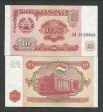 TADJIKISTAN   10  RUBLE  1994   UNC   [1]   P-3  ,   necirculata