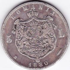 Regele Carol I. 5 lei 1880 argint Kullrich pe cerc