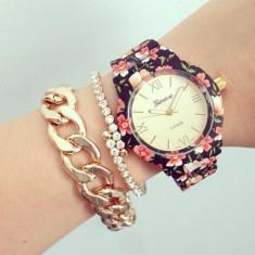 NOU Ceas de dama multicolor elegant curea imprimeu floral alb negru rosu GENEVA, Fashion, Quartz, Metal necunoscut