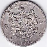 Regele Carol I. 5 lei 1880 argint Kullrich sub gat - Moneda Romania