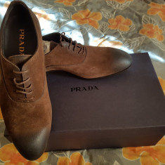 PRADA Pantofi piele intoarsa, maro, marime 40 (6.5), noi! - Pantof barbat