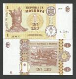 MOLDOVA  1  LEU  2015  UNC   [1]  NEW !!!   P-8j  ,  necirculata