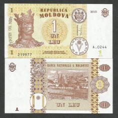 MOLDOVA 1 LEU 2015 UNC [1] NEW !!! P-8j, necirculata - bancnota europa