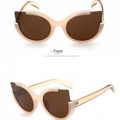Ochelari de soare dama, Retro Vintage, Femei, Maro, Rotunzi, Plastic, Protectie UV 100%