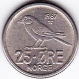 Norvegia 25 ORE 1967 fauna pasare, Europa