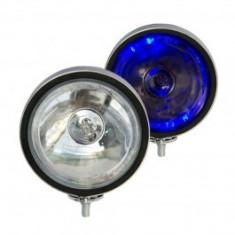 Proiector auto 12V bec H3 si led albastru rotund, carcasa metalica cromata dimensiuni 160mm, 1 buc.