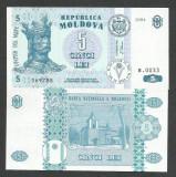 MOLDOVA  5 LEI  1994   a UNC   [1]  P-9a  , aproape  necirculata