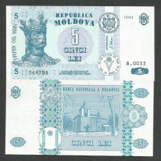 MOLDOVA 5 LEI 1994 UNC [1] P-9a, necirculata - bancnota europa