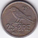 Norvegia 25 ORE 1963 fauna pasare, Europa