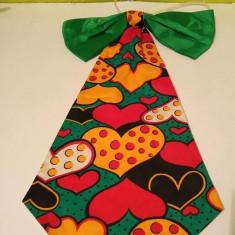 Cravata cu funda pentru clovn / claun, cu inimi, 47cm lungime - Cravata Copii