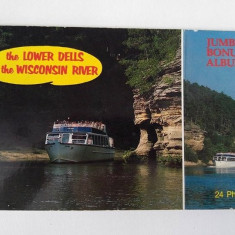Album carti postale /vederi The Lower Dells of Wisconsin River, 12 buc, 28x14cm, Franta, Necirculata, Printata