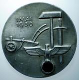 I.673 GERMANIA AL III-LEA REICH INSIGNA NAZISTA 1 MAI 1936 35,5mm HERMANN BAUER, Europa
