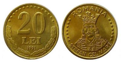 ROMANIA 20 LEI 1991 UNC DIN FISIC foto