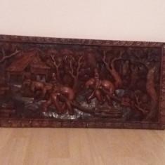 Tablou scluptat din lemn de stejar