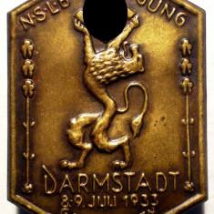 I.694 GERMANIA AL III-LEA REICH INSIGNA NAZISTA DARMSTADT GAU HESSEN 1933, Europa