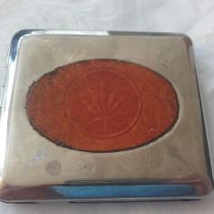 Tabachera din metal cu piele maro simbol Marijuana made in Germany - Tabachera veche