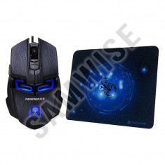 **NOU** Mouse Gaming Newmen Black, Wired, USB, 2000 DPI + Mousepad, GARANTIE !!!, Optica, Peste 2000