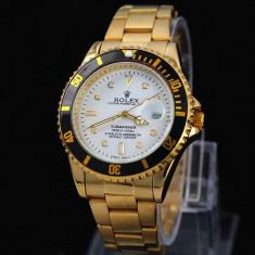 CEAS ROLEX SUBMARINER GOLD&WHITE-SUPERB-PRET IMBATABIL-CALITATEA 1-POZE REALE !! - Ceas barbatesc Rolex, Elegant, Quartz, Placat cu aur, Data