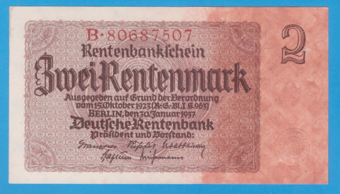 (2) BANCNOTA GERMANIA - 2 MARK 1937 (30 IANUARIE 1937), aUNC
