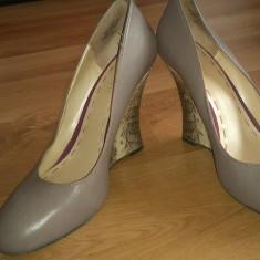Pantofi piele Nine West NOI - Pantof dama Nine West, Culoare: Greige, Marime: 39