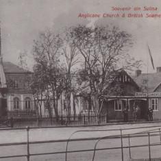 SOUVENIR DIN SULINA BISERICA ANGLICANA SI INSTITUTUL DE MARINA BRITANIC - Carte Postala Dobrogea 1904-1918, Necirculata, Printata