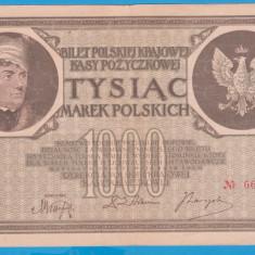 (4) BANCNOTA POLONIA - 1000 MAREK 1919 (17 MAI 1919), FILIGRAN STUP ALBINA - bancnota europa