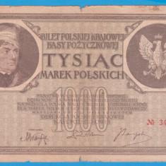 (3) BANCNOTA POLONIA - 1000 MAREK 1919 (17 MAI 1919), FILIGRAN STUP ALBINA - bancnota europa