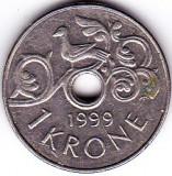 Norvegia 1 KRONE 1999 fauna pasare, Europa