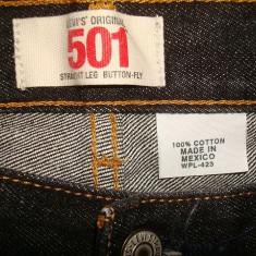 BLUGI LEVIS 501-Marimea W40xL30 -MADE IN MEXIC (talie-100cm, lungime-104cm) - Blugi barbati Levi's, Culoare: Negru, Prespalat, Drepti, Normal