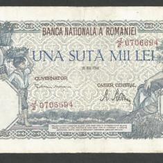 ROMANIA  100000  100.000 LEI  28  MAI  1946   [10]   VF+