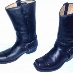Cizme rancho motociclist din piele naturala nr 44 made in mexic - Cizme barbati, Culoare: Negru