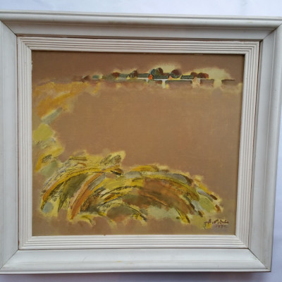 ADRIAN PODOLEANU - pictor (artist ) iesean -tablou -Peisaj delta- ulei / carton foto