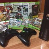 Xbox 360 Microsoft SLIM 250 Gb - 2 Controllere - 9 JOCURI (pret negociabil) !!