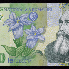ROMANIA, 10000 LEI 2000, UNC_polimer, Ghizari_serie 004C2231572 - Bancnota romaneasca
