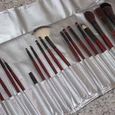 Set 18 pensule machiaj Fraulein38 + borseta depozitare argintie - Pensula machiaj