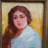 DIMITRIE FLORIAN - pictor national - Portret fata - ulei /carton - anii 1930 - Pictor roman, Portrete, Realism