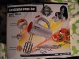 Mixer de mana Heinner, 200 W, 5 Viteze, Rosu/Alb