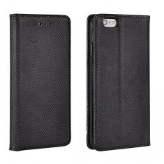 Husa Samsung Galaxy J3 2016 Flip Case Slim Inchidere Magnetica Neagra - Husa Telefon Samsung, Negru, Piele Ecologica, Cu clapeta, Toc