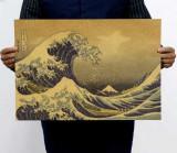 Poster vintage retro Katsushika Hokusai Marele val de la Kanagawa