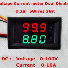 Voltmetru si Ampermetru digital 100 V 10 A rosu - verde - shunt ( sunt ) inclus - Indicator