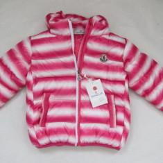 Geaca MONCLER copii - Roz cu dungi albe - 3-4 ani ! - Geaca dama, Marime: One size