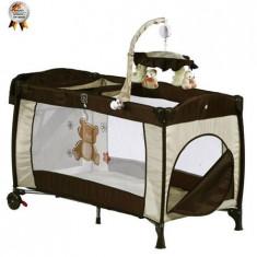 Patut Pliant Cu 2 Nivele Si Mini-Carusel Sleeper Deluxe Maro - Patut pliant bebelusi BabyGo