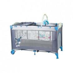 Patut Pliant Cu 2 Nivele Sleepwell Blue - Patut pliant bebelusi BabyGo