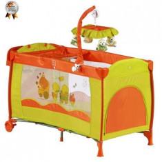 Patut Pliant Cu 2 Nivele Si Mini-Carusel Sleeper Deluxe Orange - Patut pliant bebelusi BabyGo